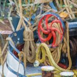 Painting of boat wheel and ropes